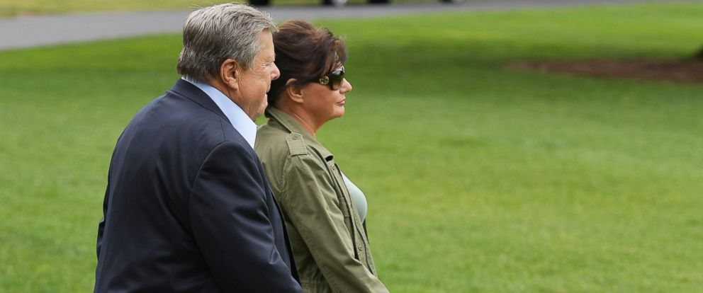 PHOTO: Viktor and Amalija Knavs, the parents of US First Lady Melania Trump, make their way to board Marine One on the South Lawn of the White House on June 17, 2017 in Washington, DC.