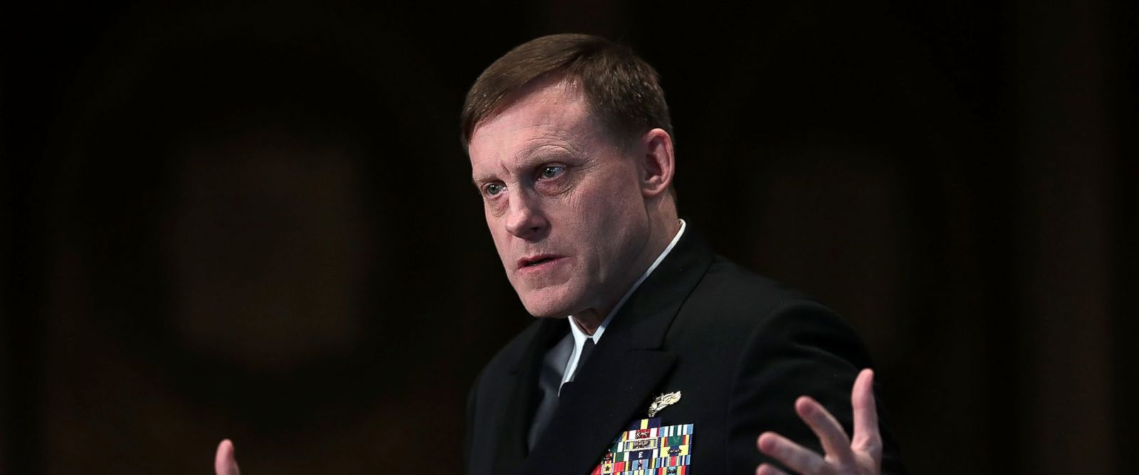 PHOTO: National Security Agency Director Adm. Michael Rogers, commander of U.S. Cyber Command, speaks on cyber security at Georgetown University on April 26, 2016 in Washington, DC.