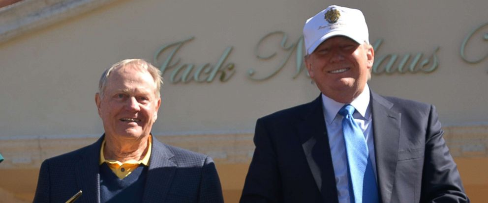 PHOTO: Jack Nicklaus and Donald Trump at the unveiling of the Jack Nicklaus Villa at Trump Doral at Trump National Doral on February 20, 2015 in Doral, Florida.