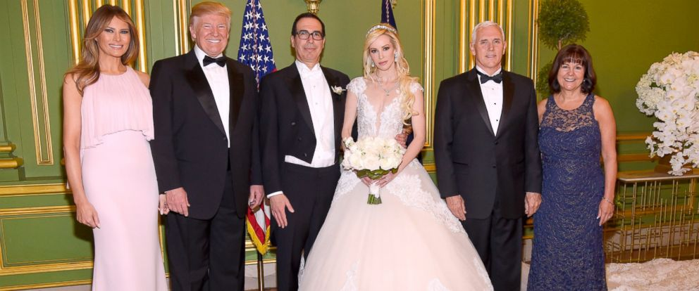 (L-R) First lady Melania Trump, Pres. Donald Trump, Secretary of the Treasury Steven Mnuchin, Louise Linton, VP Mike Pence, and Second lady Karen Pence at the wedding of Mnuchin and Linton on June 24, 2017 at Andrew Mellon Auditorium in Washington, DC.