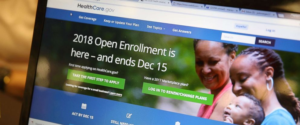 PHOTO: A computer screen shows the enrollment page for the Affordable Care Act on Nov. 1, 2017 in Miami, Fla.