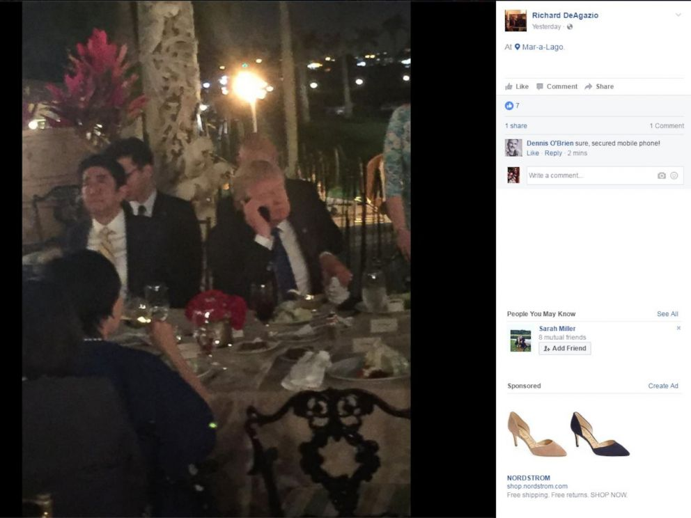 PHOTO: President Donald Trump dines with Japanese Prime Minister Shinzo Abe at Mar-a-Lago in Palm Beach, Florida, Feb. 11, 2017.