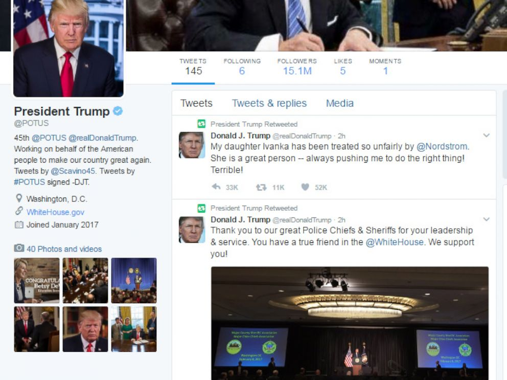 PHOTO: A screen grab made on Feb. 8, 2017 shows the official Twitter feed of the President of the United States.
