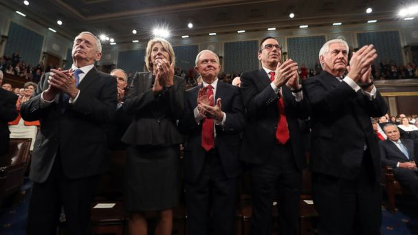 PHOTO: (L-R) Cabinet members James Mattis, Betsy DeVos, Jeff Sessions, Steve Mnuchin and Rex Tillerson applaud as President Donald Trump addresses a joint session of Congress at the U.S. Capitol, Feb 28, 2017.
