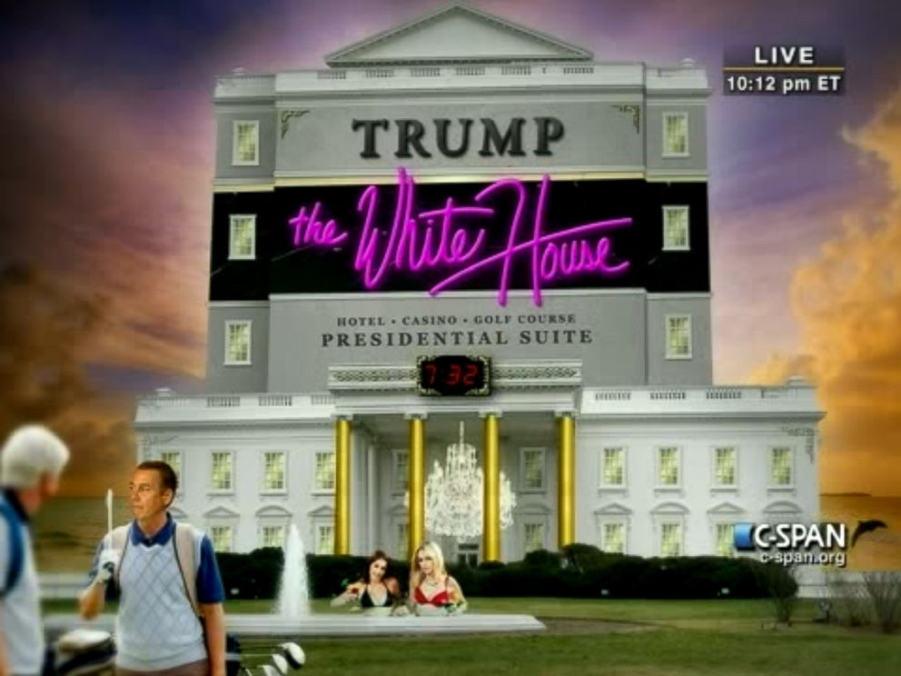 PHOTO: At the White House Correspondents Association Gala in April 30, 2011, President Obama shared a photo of what he joked the White House could look like if Donald Trump ever became president.