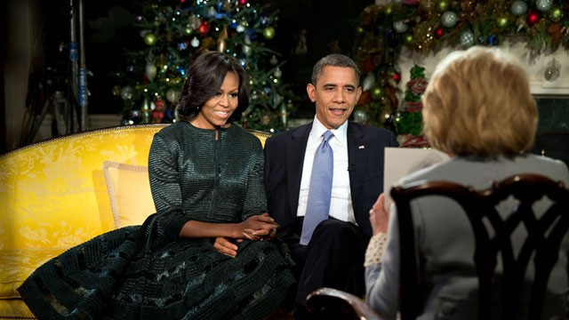 PHOTO: President Barack Obama and First Lady Michelle Obama participate in an interview with ABC's Barbara Walters in the Diplomatic Reception Room of the White House, Dec. 11, 2012.