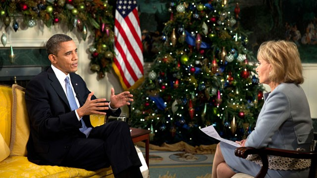 PHOTO: President Barack Obama participates in an interview with Barbara Walters, ABC, in the Diplomatic Reception Room of the White House, Dec. 11, 2012.