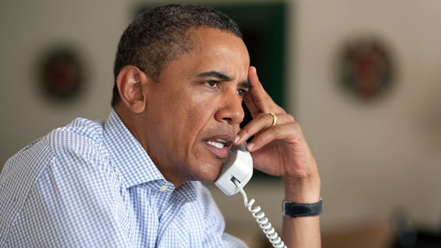 PHOTO: President Barack Obama holds conference call on Hurricane Irene with FEMA Director Craig Fugate, Homeland Security Secretary Janet Napolitano, Chief of Staff Bill Daley, and John Brennan, Assistant to the President for Homeland Security, in Chilmar