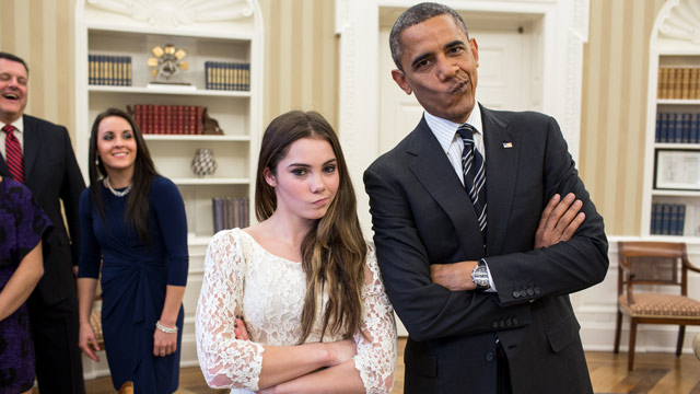 PHOTO: President Barack Obama jokingly mimics U.S. Olympic gymnast McKayla Maroney's &quot;not impressed&quot; look while greeting members of the 2012 U.S. Olympic gymnastics teams in the Oval Office, Nov. 15, 2012.