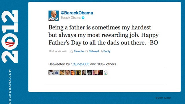PHOTO:&nbsp;This screengrab taken from Twitter shows Barack Obama's father's day tweet signed by the president using his initials &quot;BO&quot;.