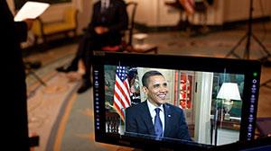 Photo: Barack Obama tapes his weekly address