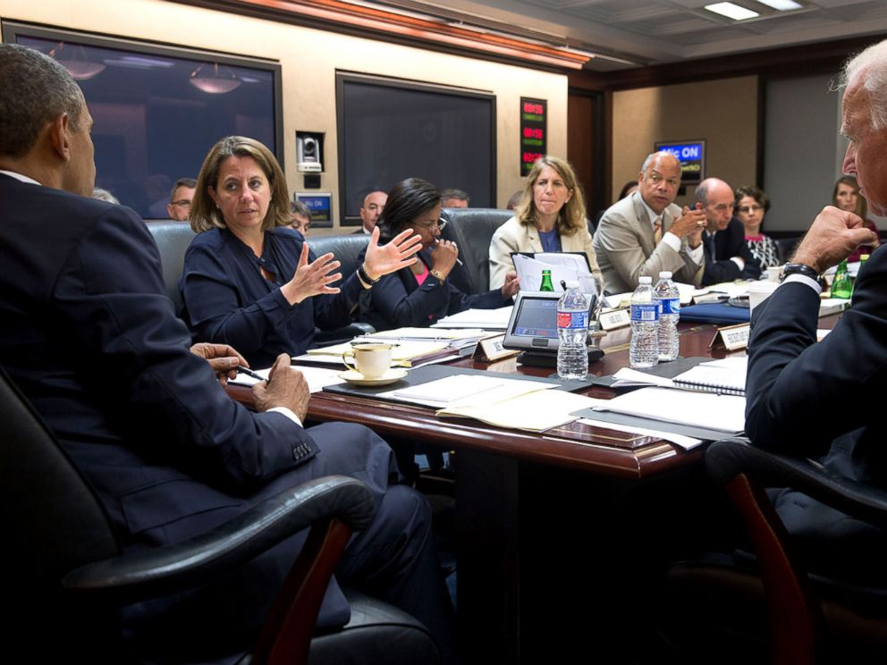 PHOTO: President Barack Obama and Vice President Joe Biden listen to Lisa Monaco during a Homeland Security Council meeting regarding immigration, in the Situation Room of the White House, July 21, 2014.