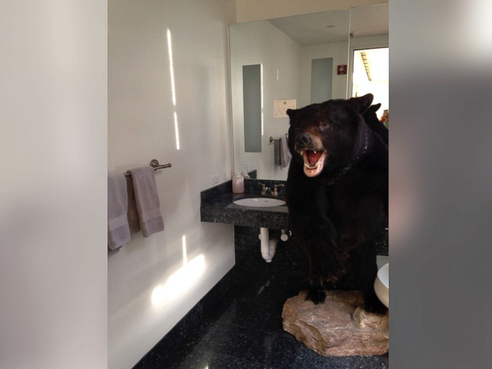 PHOTO: Former Virginia Governor Bob McDonnell left a giant bear in the bathroom as a practical joke on newly inaugurated Gov. Terry McAuliffe.