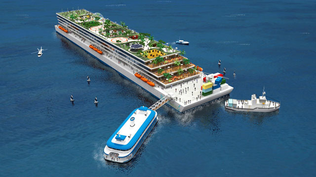 PHOTO: Within the next few years, Blueseed plans to build vessels resembling floating apartment complexes, which will feature terraces for recreational activities and a number of amenities.