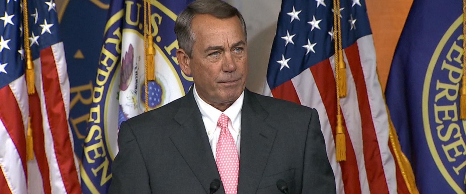 PHOTO: John Boehner speaks at a press conference about his resignation.