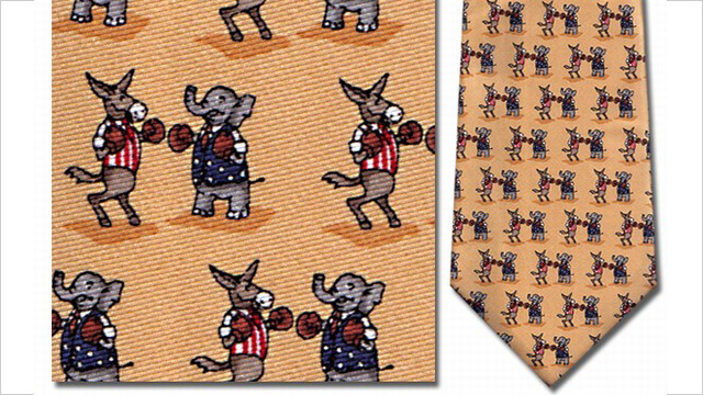 PHOTO: Boxing elephants and donkeys silk tie