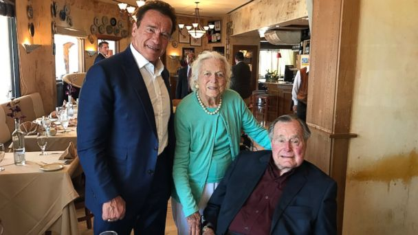 PHOTO: Arnold Schwarzenegger (left) on May 12, 2017, tweeted this photo of himself with former first lady Barbara Bush and former President George Bush.