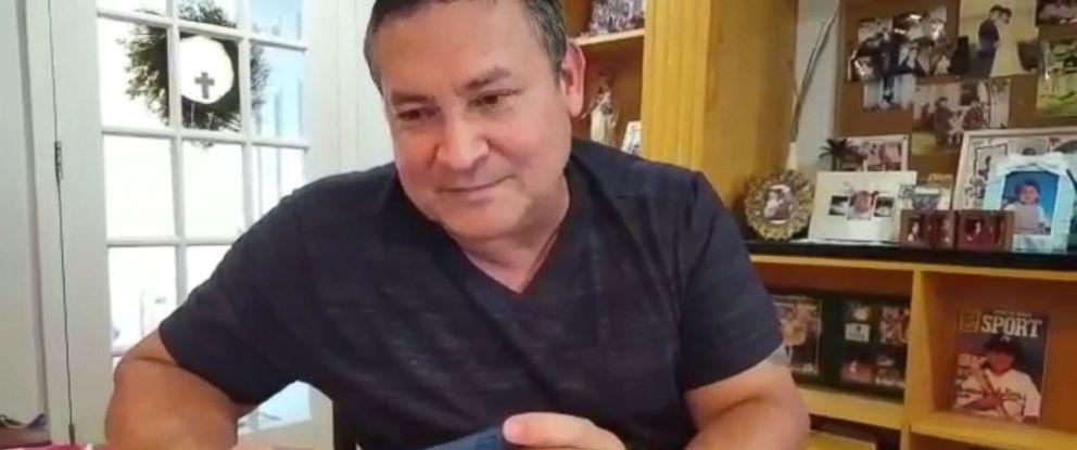 PHOTO: Guam Governor Eddie Baza Calvo speaks to President Donald Trump on August 8, 2017, via telephone in Guam.