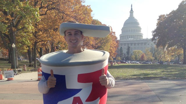 "PHOTO: Cason Romano, a Washington lobbyist, wears an aluminum can costume as part of ""The Can Kicks Back"" campaign."