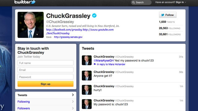 PHOTO: Senator Chuck Grassley's Twitter account has been hacked by Anonymous, Jan. 23, 2012.