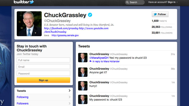 PHOTO: Senator Chuck Grassleys Twitter account has been hacked by Anonymous, Jan. 23, 2012.