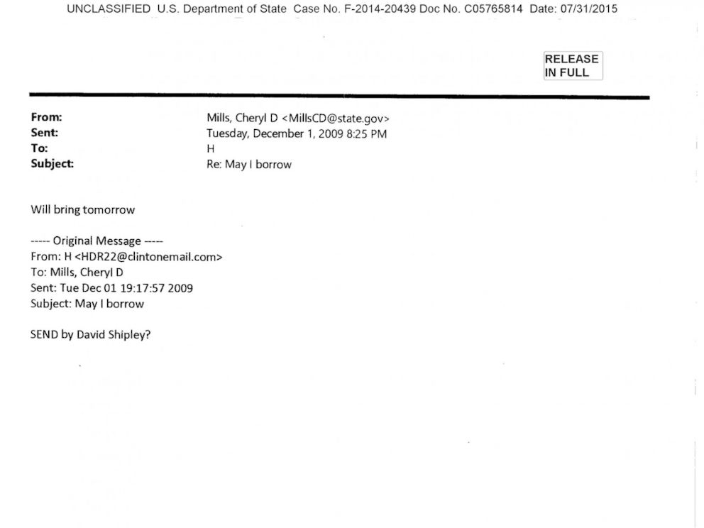 PHOTO:An email exchange between Hilary Clinton and Cheryl Mills from Dec.1, 2009.