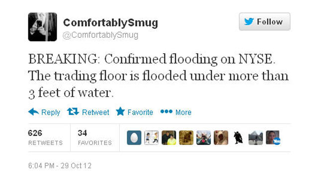 PHOTO: A staffer on Congressional candidate Christoper Wight's campaign tweeted this inaccurate information about the New York Stock Exchange during Hurricane Sandy.