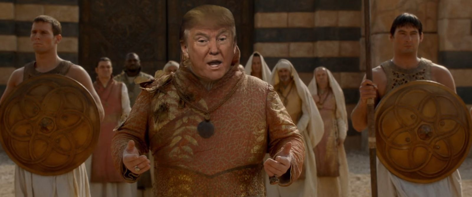 "PHOTO: Donald Trumps face is superimposed on a character from ""Game of Thrones"" in a parody video titled, ""Winter is Trumping"" posted to YouTube on Feb. 20, 2016."