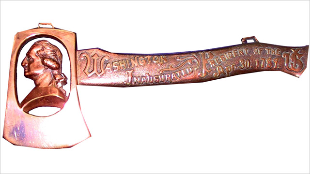 PHOTO: George Washington inaugural centennial hatchet