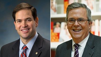 PHOTO: Marco Rubio, left, and Jeb Bush, right, will appear on