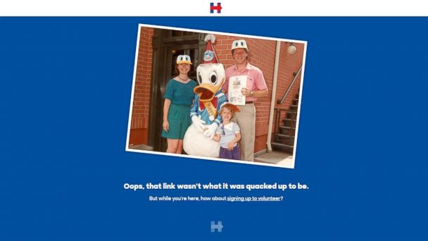 Screenshot of Hillary Clinton 404 page