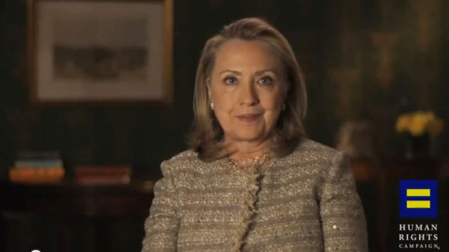 PHOTO: Hillary Clinton is seen in an undated screengrab from a video posted by the Human Rights Campaign endorsing gay marriage.