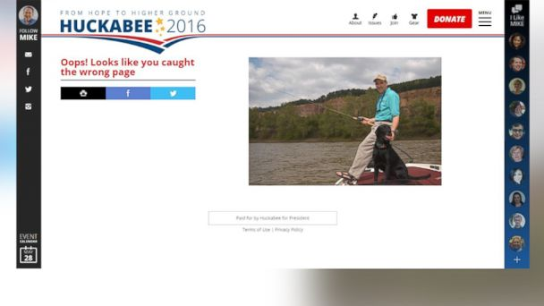 Screenshot of Mike Huckabee 404 page