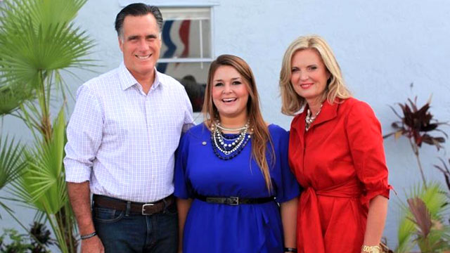PHOTO: Jane Horton, 26, pictured with Mitt and Ann Romney. Hortons husband, Chris Horton, is featured in Romneys stump speech.