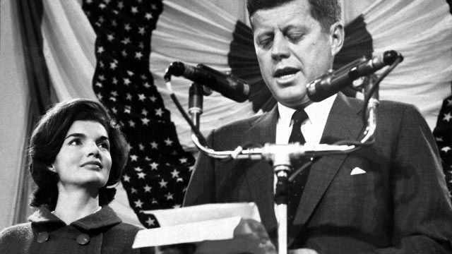 PHOTO: President-elect John F. Kennedy gives a speech on the podium at the Hyannisport Armory the day he is elected, Nov. 9, 1960.