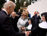 PHOTO: Vice President Joe Biden greets nuns outside of St. Peters Basilica after attending the Inauguration Mass of Pope Francis in Vatican City, Vatican, March 19, 2013.