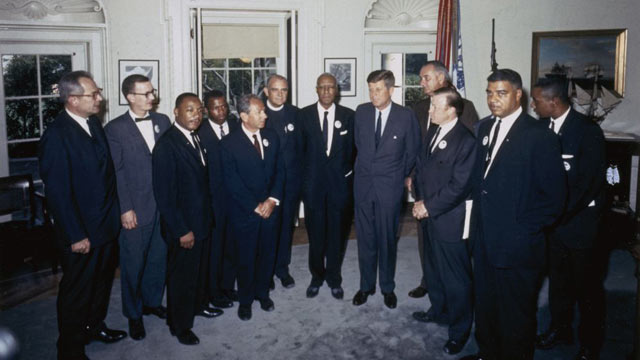 "PHOTO: Organizers of ""The March on Washington for Jobs and Freedom,"" including Martin Luther King Jr. and John Lewis, meet with President Kennedy and Vice President Lyn"