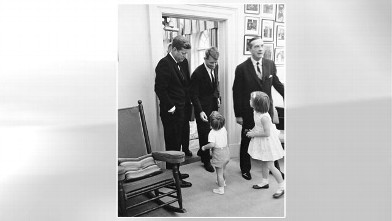 PHOTO: Caroline Kennedy and John F. Kennedy Jr. are photographed in the White House with President Kennedy and Attorney General Robert F. Kennedy on Oct. 14, 1963.