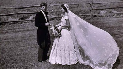 PHOTO: John Kennedy and Jackie Bouvier, in wedding attire, standing outdoors on their wedding day in Newport, Rhode Island, Sept. 12, 1953.