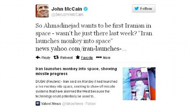 PHOTO: Sen. John Mccain tweeted a controversial message about Iranian President Mahmoud Ahmadinejad.
