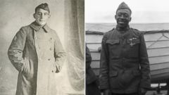PHOTO: Portraits of Sgt. William Shemin in uniform overcoat, left and Sgt. Henry Johnson of the 369th Infantry Regiment, right.