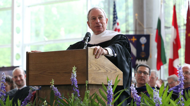 PHOTO: New York City Mayor Michael R. Bloomberg delivers the address at the Kenyon College 185th Commencement on May 18, 2013.