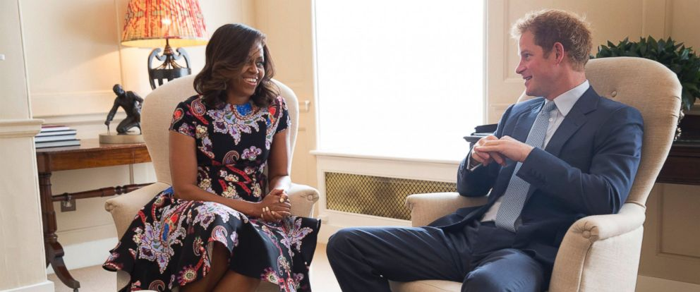"PHOTO: First Lady Michelle Obama meets with Prince Harry for tea to discuss the ""Let Girls Learn"" initiative and support for veterans, at Kensington Palace in London, England, June 16, 2015."