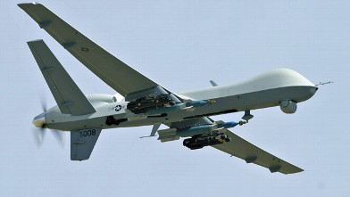 A weaponized MQ-9 unmanned aerial vehicle (UAV) is shown in this undated photo.