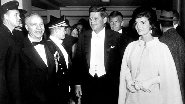 PHOTO: President Kennedy and Mrs. Kennedy arrive at the National Guard Armory in Washington for the Inaugural Ball, in this Jan. 20, 1961 file photo.