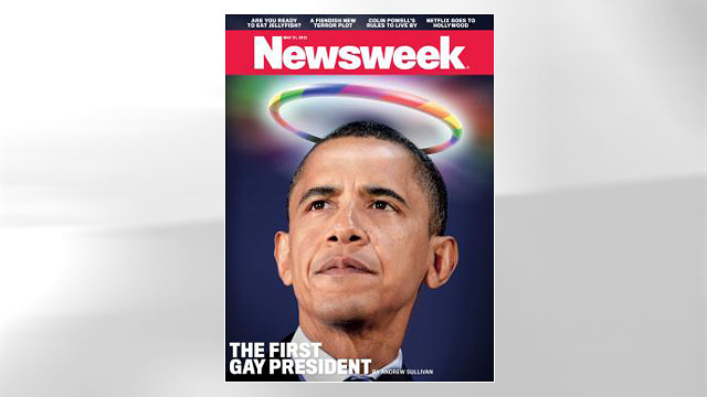 "PHOTO: Newsweeks May 21 issue declares Barack Obama the countrys ""first gay president."""