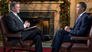 PHOTO As Gibson prepares to depart the WORLD NEWS anchor chair on Friday, he sat down with the President to discuss a wide range of issues, including Afghanistan, the economy, and the Preside
