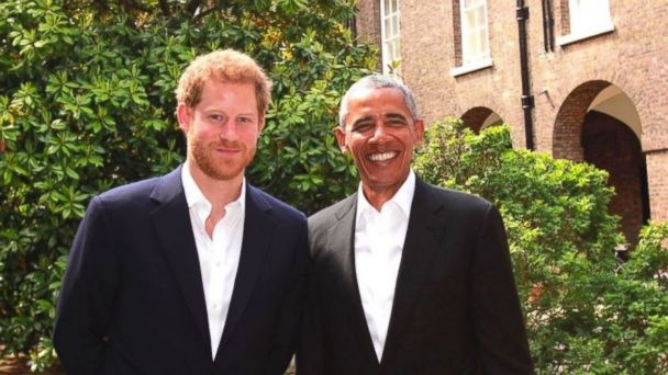 PHOTO: Prince Harry and Barack Obama at Kensington Palace in London, England, on May 27, 2017.