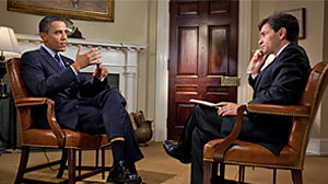 Photo: President Obama speaks with George Stephanopoulos