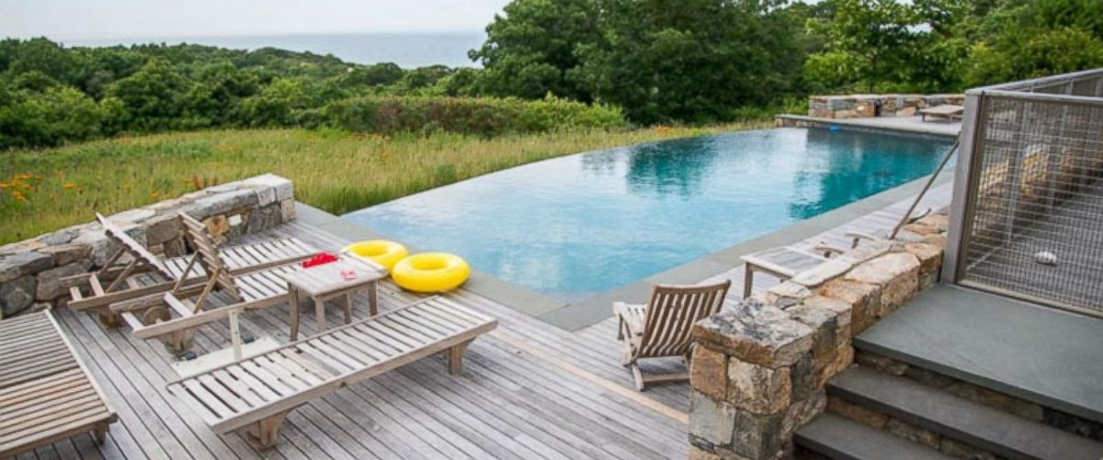 PHOTO: A backyard deck and pool are seen in the vacation home where President Obama and his family are vacationing in Chilmark, Massachusetts.